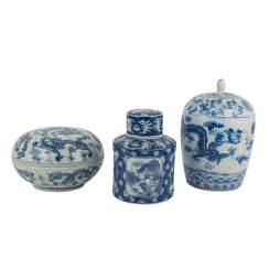 Group Of 3 Lidded Vessels. CHINA, 20. Century.