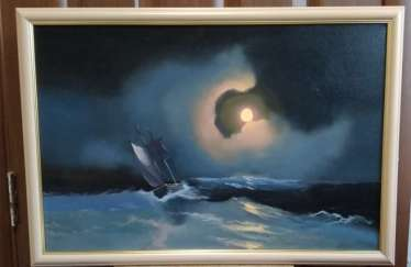 A storm on the sea on a moonlit night