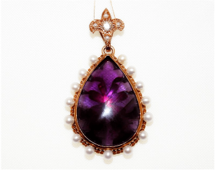 Amethyst pendant with pearl and diamond