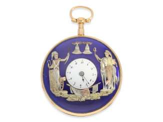 Pocket watch: extremely rare, very serious rose-gold-plated figure, automaton Jacquemart with military figures, No. 2934, CA. 1810