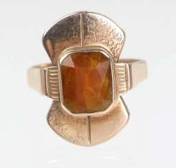 Citrine ring yellow gold 333