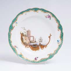 Plate with coastal landscape