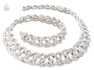 Chain/necklace very heavy and highly decorative, formerly very expensive white gold and diamond necklace by Wempe, approx. 3,5 ct., elaborate hand work made of 18K white gold