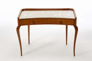 (Attributed) | Solid wood and veneered console with a moving shape with under-top drawers and glass over-top with mirror butterfly decorations