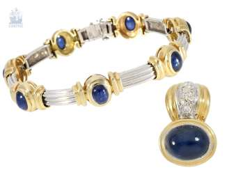 Bracelet / pendant: decorative, expensive modern goldsmith bracelet with fine sapphire trimmings and a matching pendant