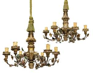 A PAIR OF NORTH ITALIAN GILT-VARNISHED-SILVERED ('MECCA') AND TOLE SIX-LIGHT CHANDELIERS