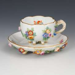 Cup with flowers plaque, Meissen.