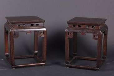 China Qing Dynasty a pair Wooden stool