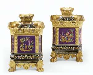 A PAIR OF JACOB PETIT PORCELAIN PURPLE AND BLACK GROUND POT-POURRI VASES AND COVERS