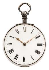 Spindle pocket watch with key winding