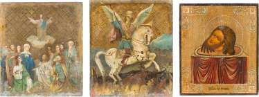 DOUBLE-SIDED ICON WITH SAINT GEORGE THE DRAGON SLAYER AND THE ASCENSION OF CHRIST, AND THE HEAD OF JOHN THE PRECURSOR
