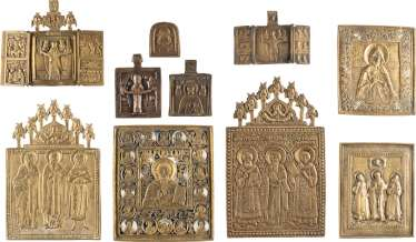 TWO TRIPTYCHA AND EIGHT BRONZE ICONS WITH SELECTED SAINTS