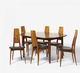 Six chairs and an oval dining table