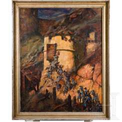 Bavarian infantry storming a castle, painting around 1900