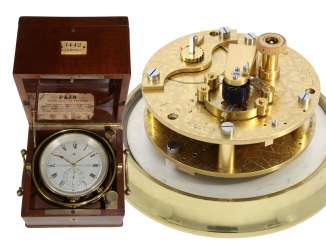A marine chronometer is a small, rare marine chronometers for the French Navy, L. LEROY NO. 1442, CA. 1880-1890