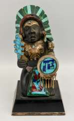 INDIAN CHIEF figure with silver fittings and semi-precious stones, 20. Century