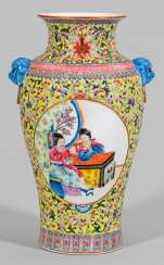 Famille rose baluster vase with figural scenes