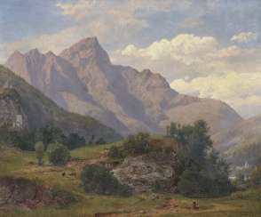 Full Weider, Johann Jakob. Mountain landscape with figure staffage