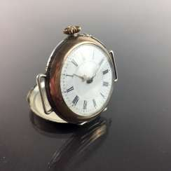 Ladies FOB watch / ladies wrist watch: silver 800, gold edge (Galonné), finely engraved, cylinder escapement, 1900, very good