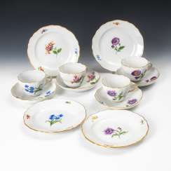 4 place settings with flower painting, MEISSEN.