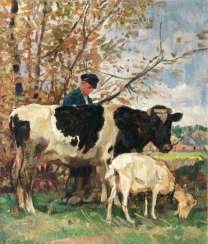 Farmer with a cow and a goat