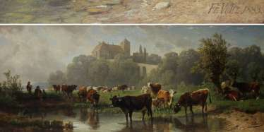 VOLTZ, FRIEDRICH (1817-1886): cows at a Ford.