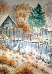 "Village ""Landscape with geese"""