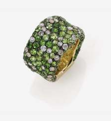 A modified band ring with Tsavorites and champagne-coloured brilliant-cut diamonds