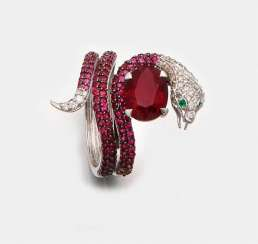 Snake ring with Madagascar ruby