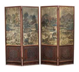 Four-piece adjusting screen with hard wood-cased paintings of Roman scenes