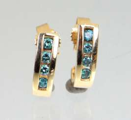 Earrings with blue diamonds - yellow gold 585