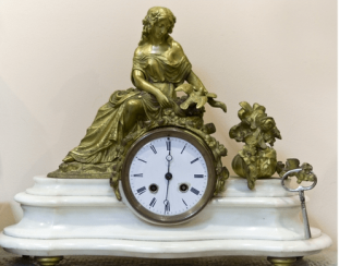 Mantel clock, white marble