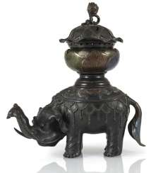 Koro made of Bronze in the Form of a Lotus leaf on the back of a standing elephant