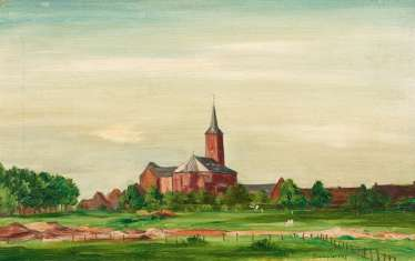 Champion, Theo (1887 Düsseldorf - 1952 Zell/Mosel). View of a village with Church