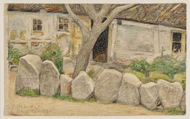 Village house with tree and the edge of the stones. Circa 1901