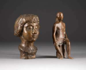 MODERN image sculptor Active in the 2. Half of the 20th century. Century. PAIR OF BRONZE FIGURES ('SEDENTARY' AND 'BUST OF A LADY')