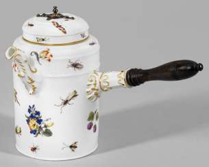 Large chocolate pot with flowers and insects painting
