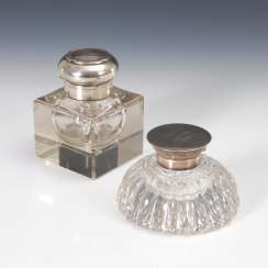 2 Inkwells with silver mounts.