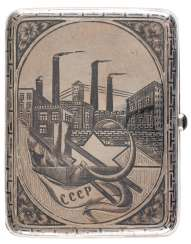 CIGARETTE CASE WITH THE SOVIET STAR AND THE ARCHITECTURE OF INDUSTRY
