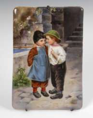 Porcelain Painting: Boys ' Pair