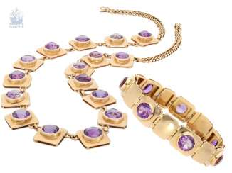 Chain/necklace/ / bracelet: handmade and decorative vintage Amethyst necklace with matching bracelet, 18K Gold
