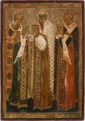 LARGE ICON WITH THE SAINTS ATHANASIOS OF ALEXANDRIA