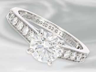 Ring: very high-quality platinum solitaire Ring from the house of Cartier, a fine, brilliant trim, medium stone was 1.31 ct, with Box & papers