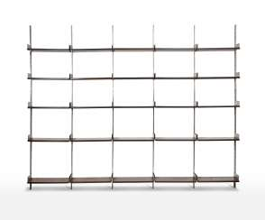 * Modular five-span bookcase with brushed steel structure