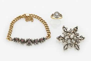 Brooch, bracelet and ring with diamonds, Paris, late 19th and early 20th centuries