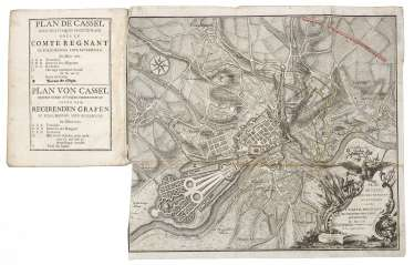 Report on the siege of Kassel with a folding plan from 1762.
