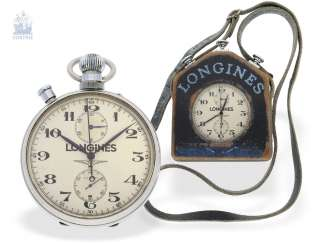 Pocket watch: very rare, great Longines Chronograph Rattrapante with Register, P 9537100/ Ref. 4507 with original box, CA. 1950