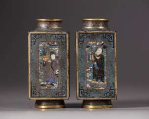 A pair of Chinese cloisonné enamel 'Eight Immortals'