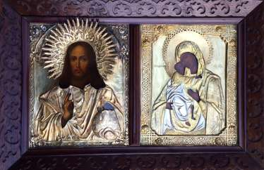 "Icon ""Wedding couple: Almighty and Fedorovskaya mother of God"". Moscow, 1865 and 1872гг."