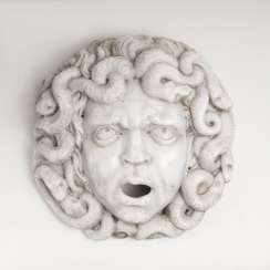 Impressive large marble relief of the 'head of Medusa'